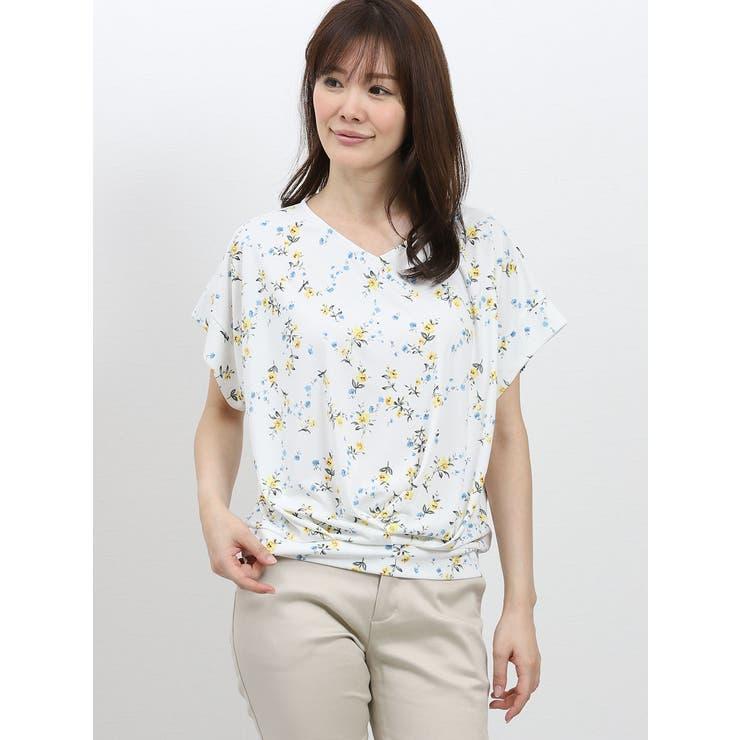 TAKA-Q/ladies:スムース花柄たけのこタック半袖プルオーバー   TAKA-Q   詳細画像1