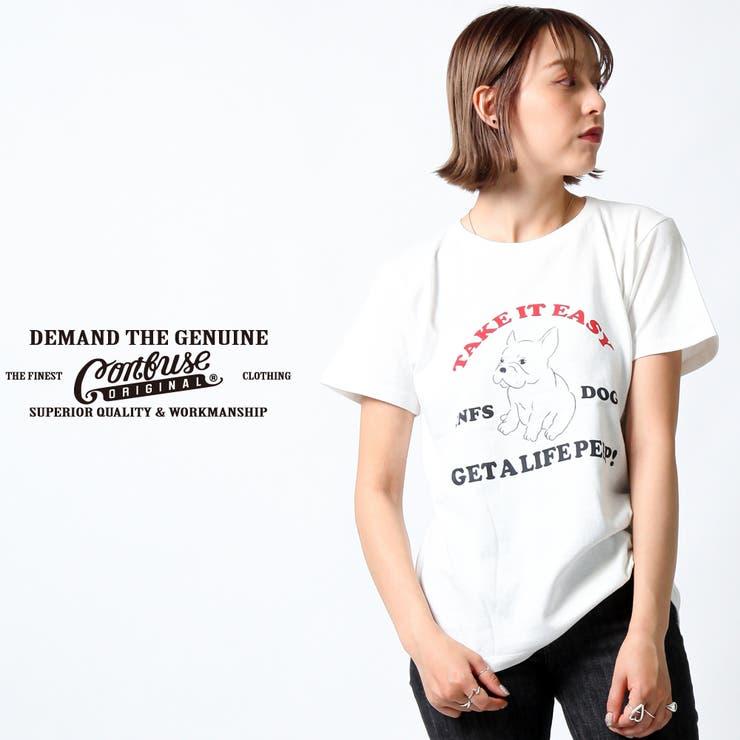 CONFUSE Tシャツ レディース 半袖 ティーシャツ TEE コンフューズ M L 黒 ブラック 白 ホワイト プリント ワークルード系 ブランド 人気 アメカジ ストリート系 サーフ系 ファッション おしゃれ かっこいい /3045/cfst2931-girl   詳細画像