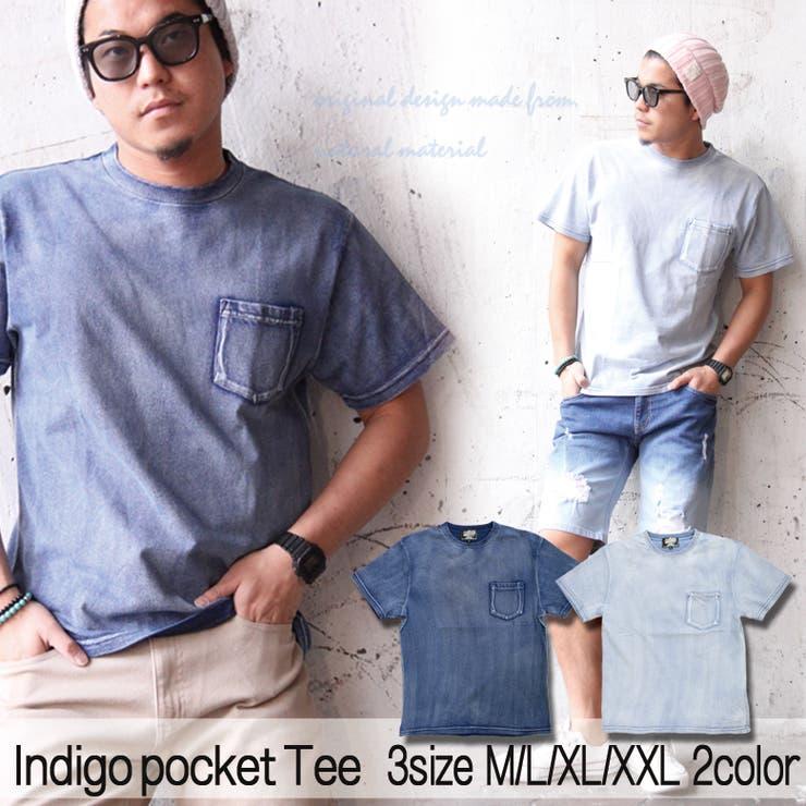 Tシャツ メンズ インディゴ染半袖Tシャツ ぷりんとポケット付Tシャツ メンズカジュアル ストリート系 M L XL XXL /3045/ ストリート系 ファッション | 詳細画像