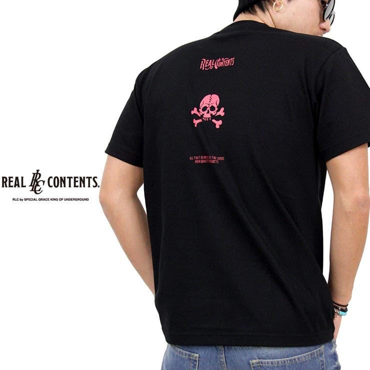 Tシャツ メンズ 半袖 ティーシャツ TEE リアルコンテンツ REALCONTENTS XL XXL 2XL 3L 黒 ブラック 白ホワイト プリント ブランド 人気 アメカジ ストリート系 ファッション おしゃれ かっこいい /3045/ | 詳細画像