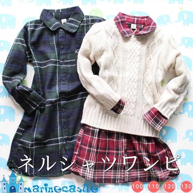 韓国子供服 タータンチェックネルシャツワンピース