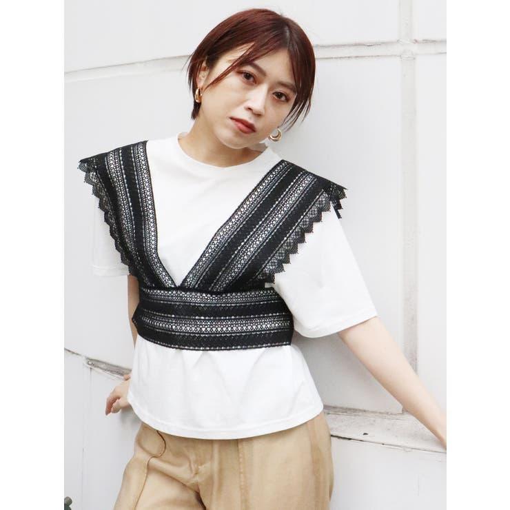レースベストレヤードTシャツ   MURUA   詳細画像1