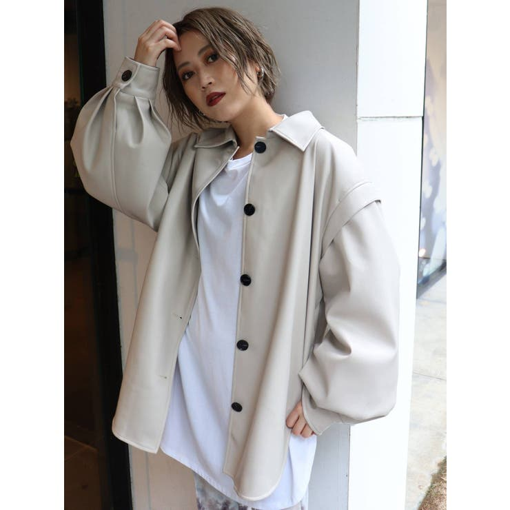 ポイントショルダーフェイクレザーシャツ   MURUA   詳細画像1
