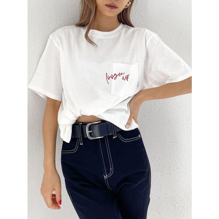MESSAGE EMBROIDERYポケットTシャツ | GYDA | 詳細画像1