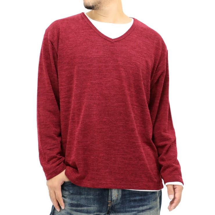 大きいサイズ メンズ ストレッチ ニット Vネック アンサンブル 長袖 Tシャツ セット【キングサイズ 2L 3L 4L 5Lセーター きれいめ シンプル 清潔感】