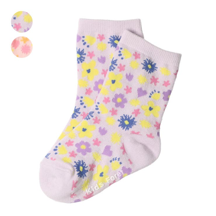 【子供服】KidsForet(キッズフォーレ)小花柄クルーソックス・靴下11cm~20cmB15308 | 詳細画像