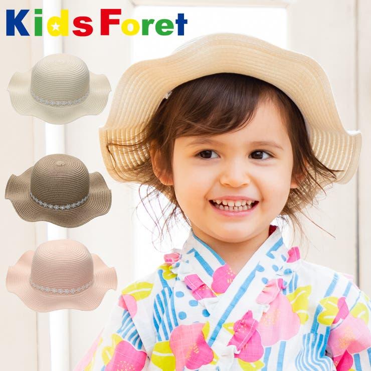 【子供服】KidsForet(キッズフォーレ)お花レース使い洗えるたためるハット・帽子46cm~56cmB33423   詳細画像