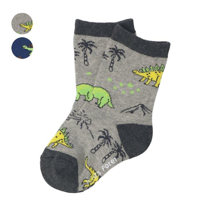 【子供服】KidsForet(キッズフォーレ)恐竜柄クルーソックス・靴下11cm~20cmB35302 | 詳細画像