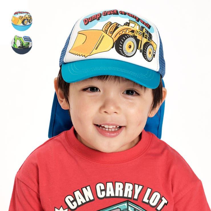 【子供服】KidsForet(キッズフォーレ)働く車柄日よけたれ付メッシュキャップ・帽子48cm~56cmB35404   詳細画像