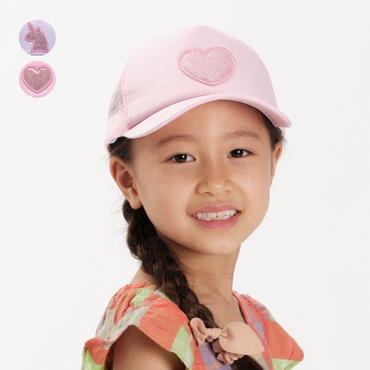 【子供服】KidsForet(キッズフォーレ)ユニコーン・ハートラメ入りキャップ・帽子50cm~56cmB35409 | 詳細画像