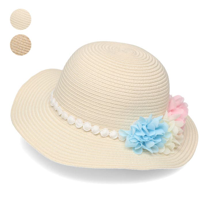 【子供服】KidsForet(キッズフォーレ)洗えるたためるお花付きハット・帽子48cm~56cmB35427 | 詳細画像