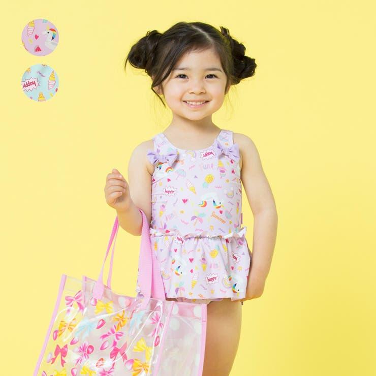 【子供服】KidsForet(キッズフォーレ)ユニコーン柄ワンピース水着・スイムウェア90cm~130cmB35821   詳細画像