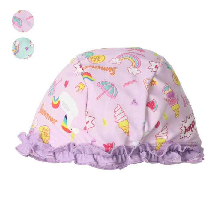 【子供服】KidsForet(キッズフォーレ)フリル付スイムキャップ・水泳帽49cm,53cmB35826 | 詳細画像