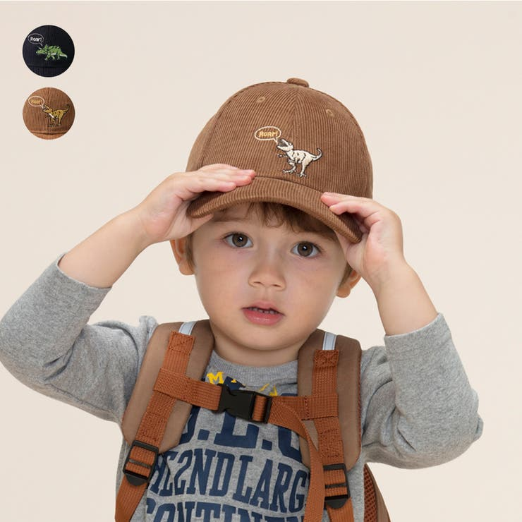 Kids Foret 恐竜刺繍コーデュロイキャップ   こどもの森e-shop   詳細画像1