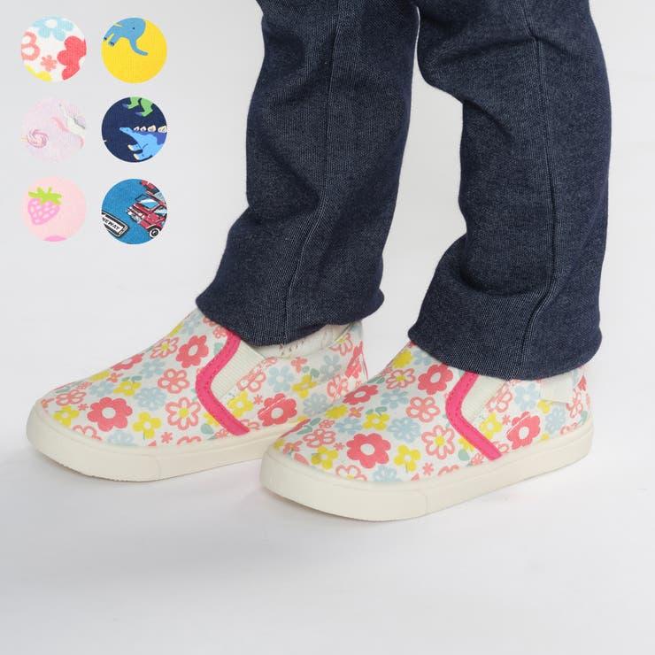 【子供服】KidsForet(キッズフォーレ)総柄スリッポン・靴・シューズ13cm~19cmB81836 | 詳細画像