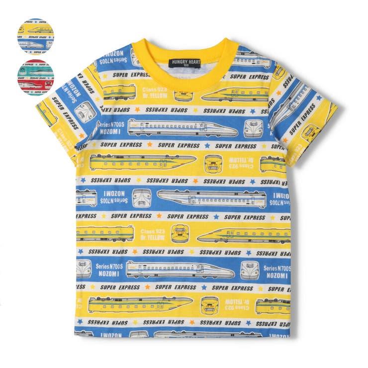 【子供服】HungryHeart(ハングリーハート)日本製新幹線・電車ボーダー柄Tシャツ90cm~130cmK34850 | 詳細画像