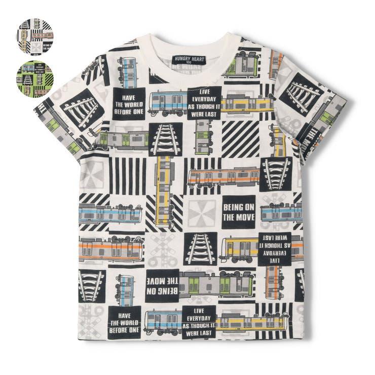 【子供服】HungryHeart(ハングリーハート)日本製在来線電車総柄Tシャツ90cm~130cmK34860 | 詳細画像