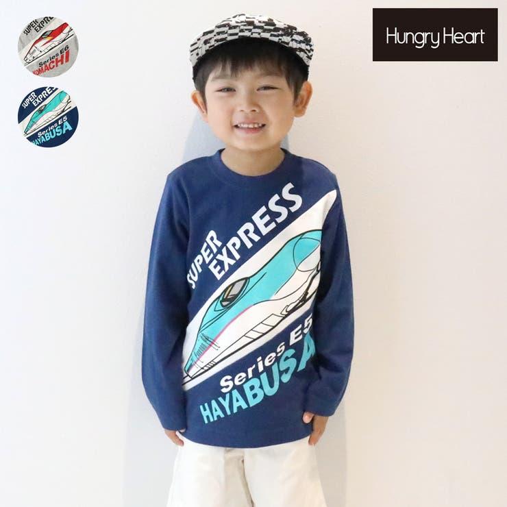 【子供服】HungryHeart(ハングリーハート)こまち・はやぶさ新幹線・電車斜め切替Tシャツ90cm~130cm | 詳細画像