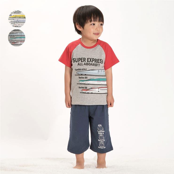 【子供服】HungryHeart(ハングリーハート)新幹線・電車プリント半袖パジャマ90cm~130cmK87753 | 詳細画像