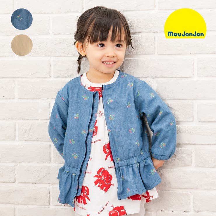 【子供服】moujonjon(ムージョンジョン)無地・花柄デニム裾フリルジャケット90cm~140cmM14101 | 詳細画像