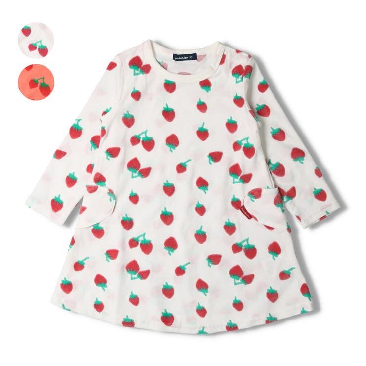 【子供服】moujonjon(ムージョンジョン)カットベロアイチゴ柄ワンピース80cm~140cmM14301 | 詳細画像