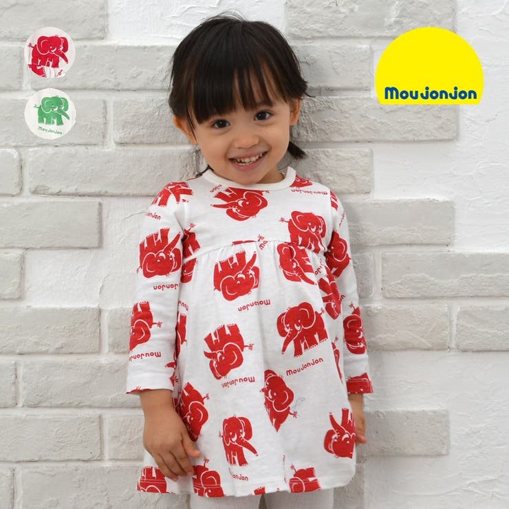 【子供服】moujonjon(ムージョンジョン)日本製ぞうさん総柄ワンピース80cm~120cmM14302   詳細画像