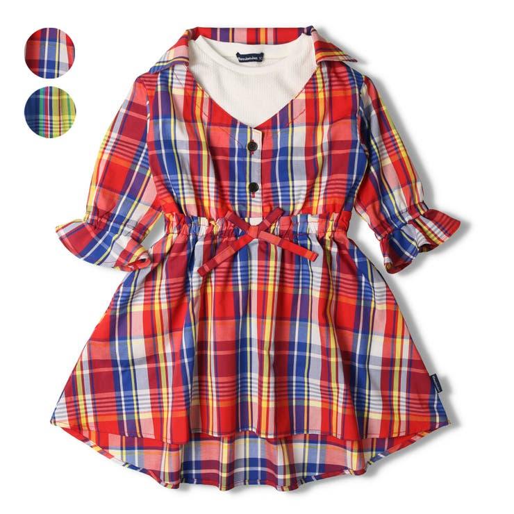 【子供服】moujonjon(ムージョンジョン)チェック重ね着風ワンピース90cm~140cmM14303   詳細画像
