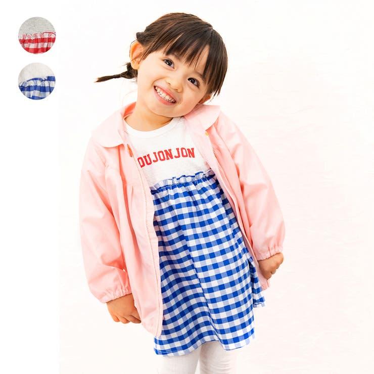【子供服】moujonjon(ムージョンジョン)肩リボンギンガムチェック切替ワンピース80cm~140cmM14321   詳細画像