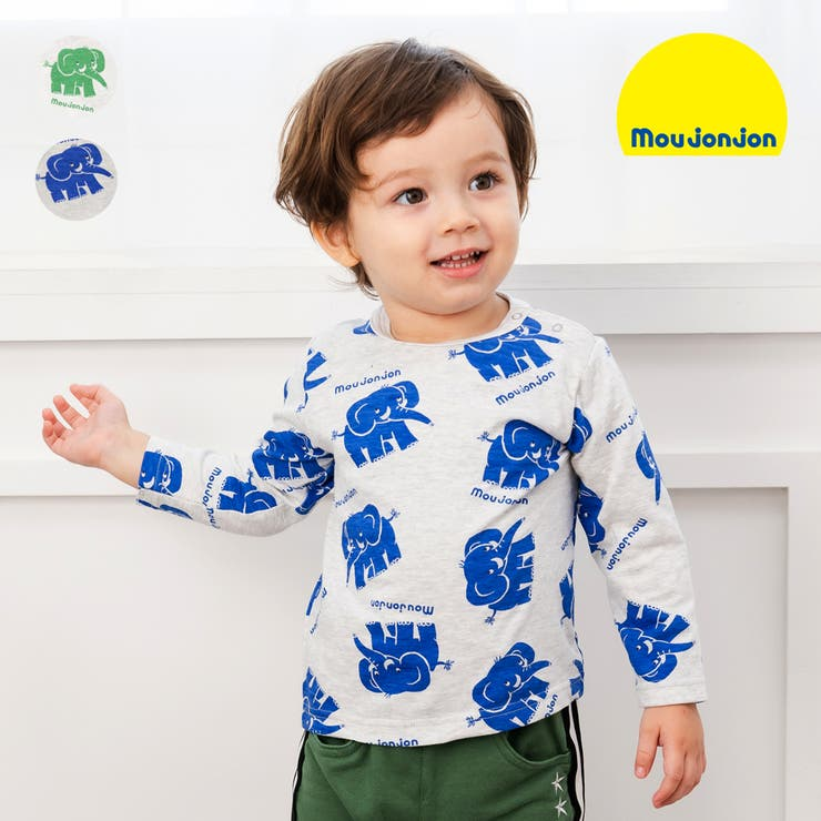 moujonjon 日本製ぞう総柄プリントTシャツ 80cm~120cm | こどもの森e-shop | 詳細画像1