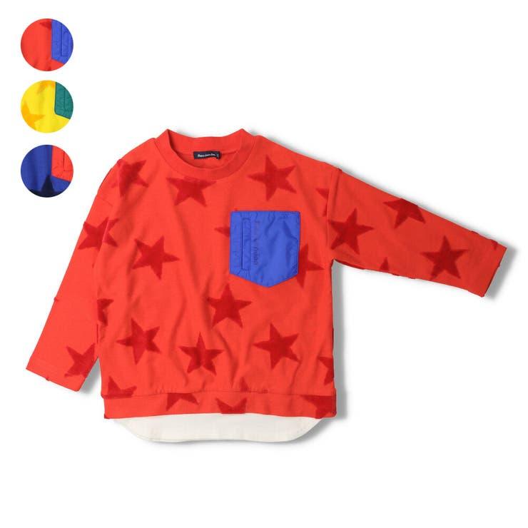 【子供服】moujonjon(ムージョンジョン)カットベロア星柄Tシャツ80cm~140cmM14802 | 詳細画像