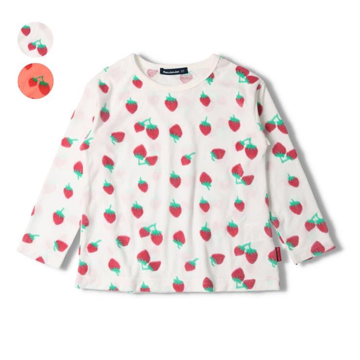 moujonjon カットベロアイチゴ柄長袖Tシャツ ロンT | こどもの森e-shop | 詳細画像1