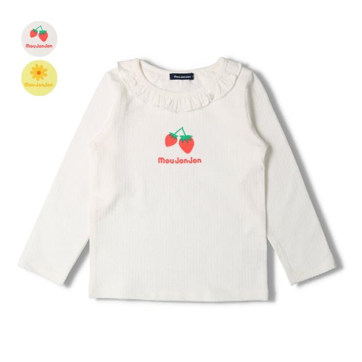 moujonjon イチゴ お花プリント衿フリル長袖Tシャツ   こどもの森e-shop   詳細画像1