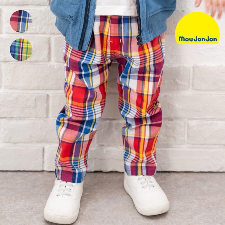 【子供服】moujonjon(ムージョンジョン)ストレッチツイルチェック柄パンツ80cm~140cmM15000   詳細画像