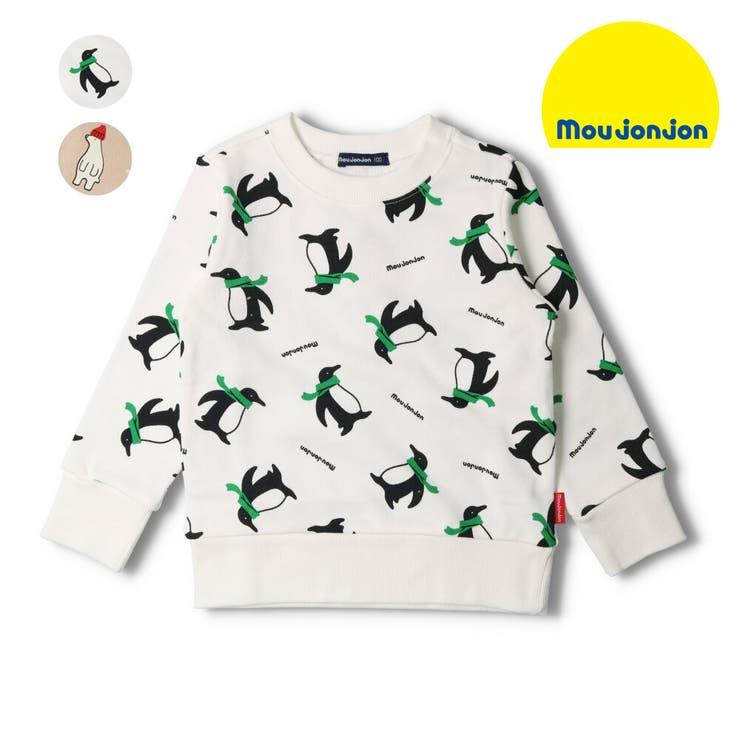 【子供服】moujonjon(ムージョンジョン)ペンギン・しろくま総柄裏毛トレーナー80cm~130cmM24600 | 詳細画像