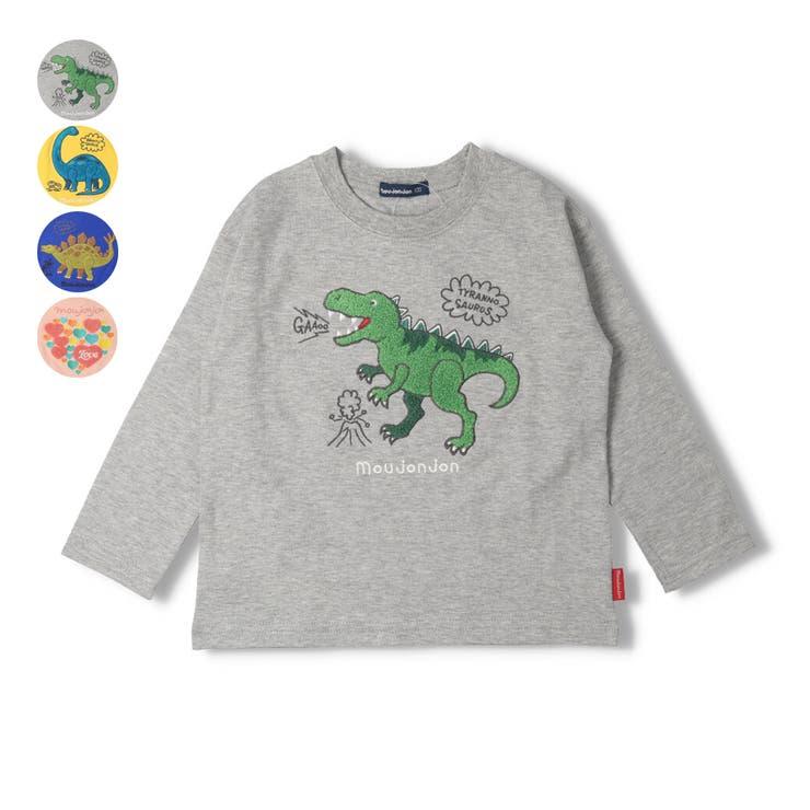 【子供服】moujonjon(ムージョンジョン)恐竜・ハートサガラ刺繍Tシャツ80cm~130cmM24824   詳細画像