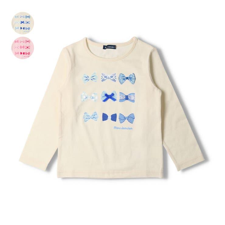 【子供服】moujonjon(ムージョンジョン)日本製ネット限定リボンプリントTシャツ80cm~140cmM24875   詳細画像