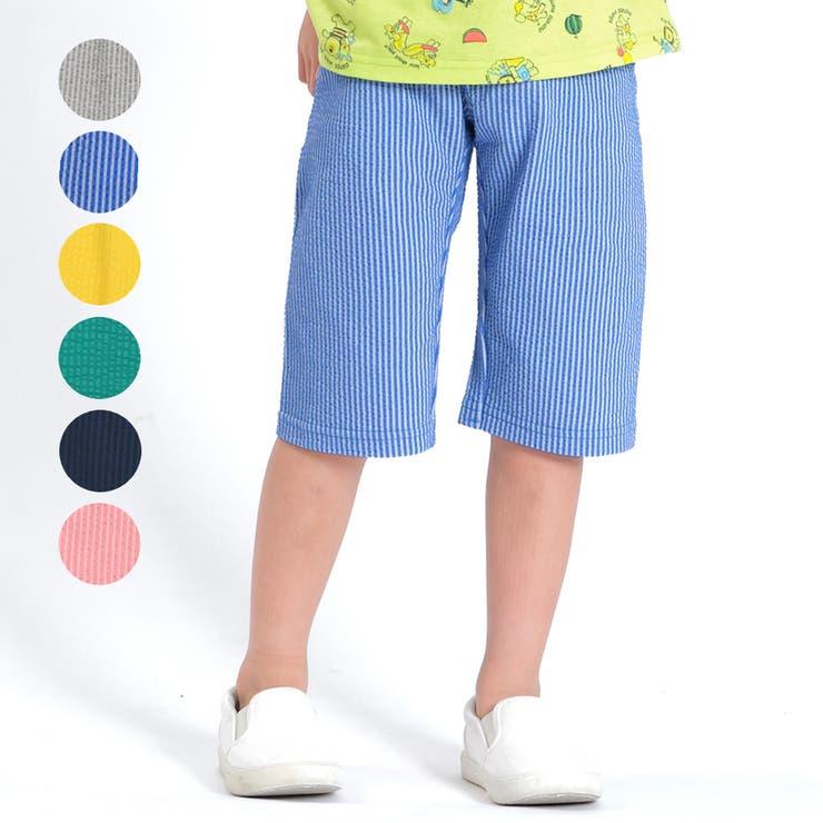 【子供服】moujonjon(ムージョンジョン)日本製カラー6分丈ハーフパンツ80cm~130cmM33125 | 詳細画像