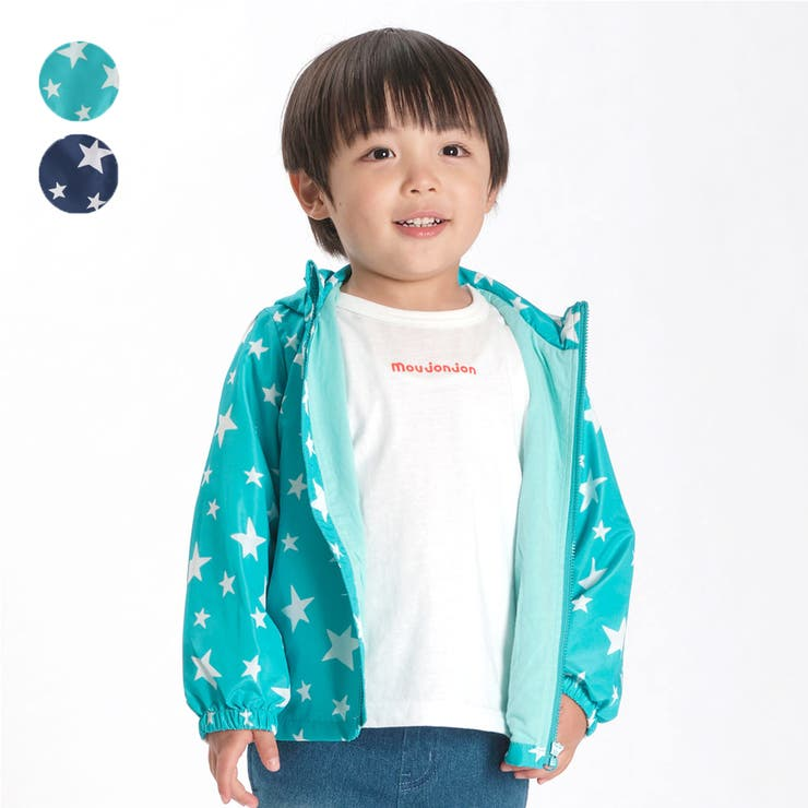 【子供服】moujonjon(ムージョンジョン)星柄裏天竺ジャンパー・ジャケット90cm~130cmM34120   詳細画像