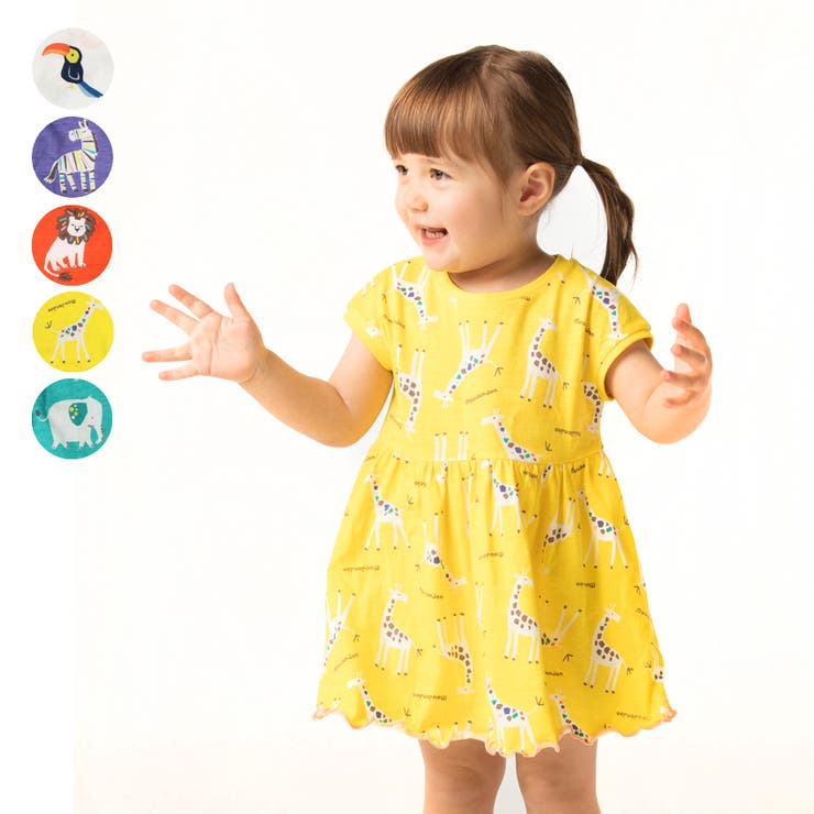 moujonjon 日本製アニマル動物柄ワンピース 女の子   こどもの森e-shop   詳細画像1