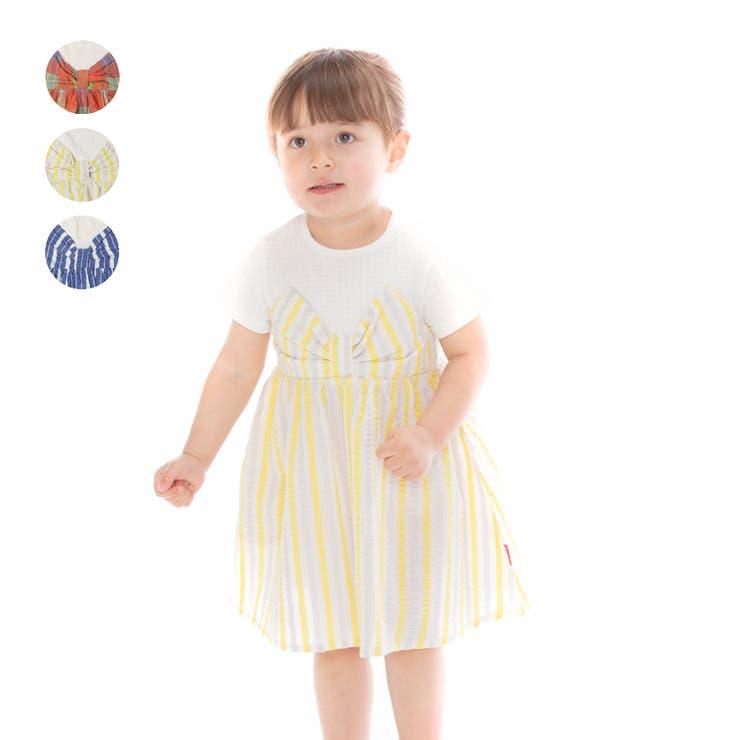 【子供服】moujonjon(ムージョンジョン)チェック・ストライプ柄リボンワンピース80cm~140cmM34321 | 詳細画像