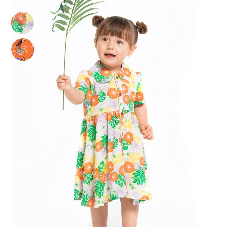 【子供服】moujonjon(ムージョンジョン)ボタニカル・アロハ柄シャツワンピース90cm~140cmM34341 | 詳細画像