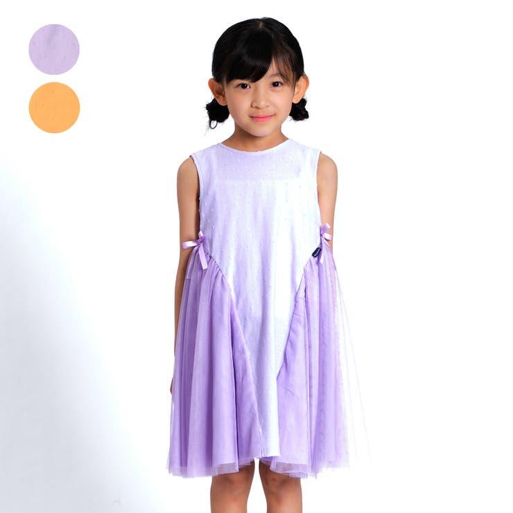 【子供服】moujonjon(ムージョンジョン)チュール切替ノースリーブワンピース90cm~140cmM34342 | 詳細画像