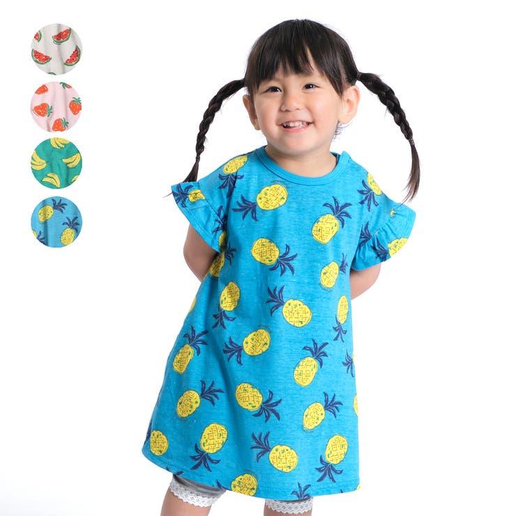 【子供服】moujonjon(ムージョンジョン)日本製蛍光ネップフルーツワンピース80cm~130cmM34343 | 詳細画像