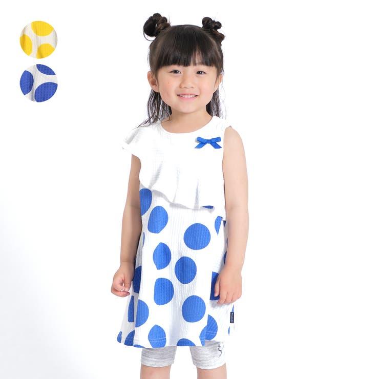 【子供服】moujonjon(ムージョンジョン)ドット柄ノースリーブワンピース90cm~140cmM34344   詳細画像