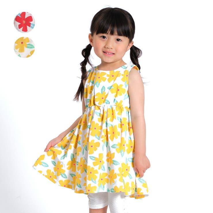 【子供服】moujonjon(ムージョンジョン)花柄ワンピース80cm~140cmM34345   詳細画像