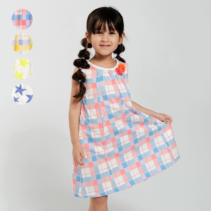 【子供服】moujonjon(ムージョンジョン)チェック・星柄ノースリーブワンピース90cm~140cmM34364 | 詳細画像