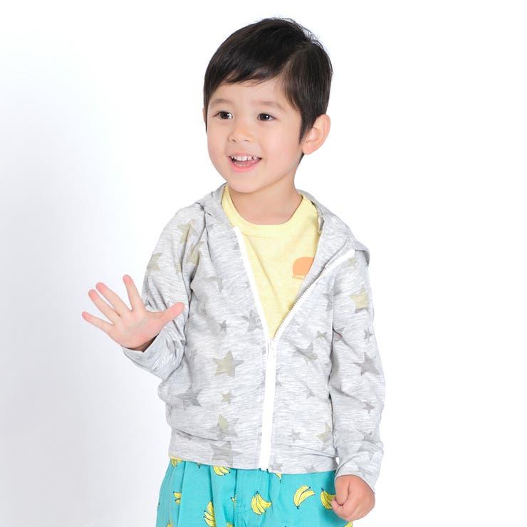 【子供服】moujonjon(ムージョンジョン)オパール天竺星柄パーカー90cm~140cmM34420 | 詳細画像