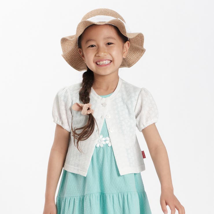 【子供服】moujonjon(ムージョンジョン)花柄レーシージャガードボレロ90cm~140cmM34421 | 詳細画像