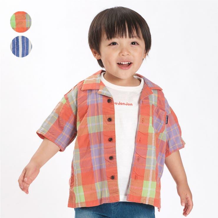 【子供服】moujonjon(ムージョンジョン)チェック・ストライプ柄シャツ90cm~140cmM34520   詳細画像