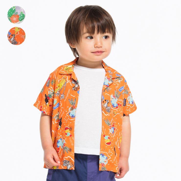 【子供服】moujonjon(ムージョンジョン)ハイビスカス・動物アロハ柄アロハシャツ90cm~140cmM34540 | 詳細画像